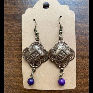 Brass Etched Earrings with Purple Beads